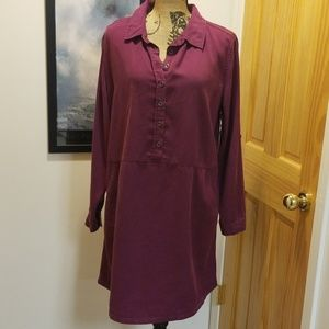 Time and Tru burgundy loose fitting shirt dress